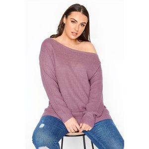 Plus Size Purple Bardot Knitted Jumper 18-20 Yours Clothing Uk