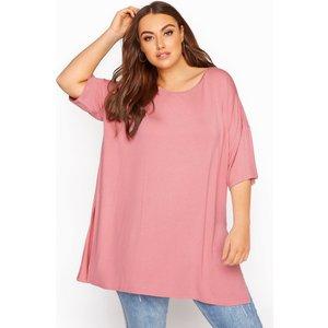 Plus Size Rose Pink Oversized Tshirt 26-28 Yours Clothing Uk