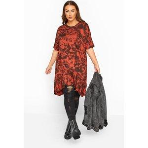 Plus Size Rust Tie Dye Hanky Hem Top 22 Yours Clothing Uk