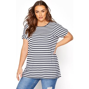 Plus Size White And Navy Grown On Stripe Sleeve Tshirt 34-36 Yours Clothing Uk