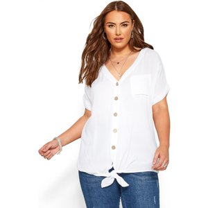 Plus Size White Button Front Tie Top 20 Yours Clothing Uk