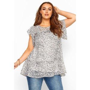 Plus Size White Polka Dot Frill Chiffon Blouse 22-24 Yours Clothing Uk