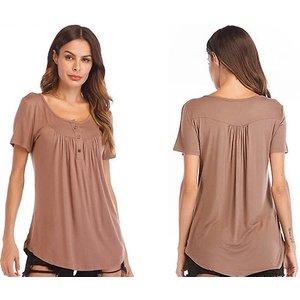 Domosecret Button Detail Scoop Neck Smock T-shirt - 4 Colours & 5 Sizes Clothing Accessories