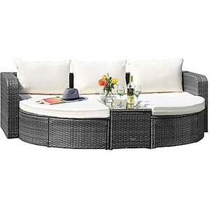 Thompson And Morgan Dark Grey 5-section Rattan Day Bed With Optional Cover Garden