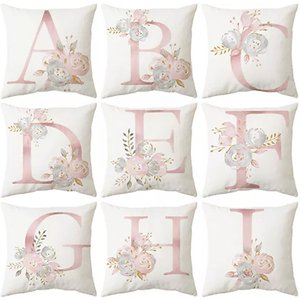 Inod Pink Letter Floral Cushion Cover Home Accessories