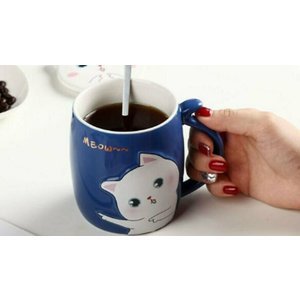 Cufflinks Gift Hub Limited Set Of 4 Ceramic Cat Mugs With Lids & Spoons Home Accessories