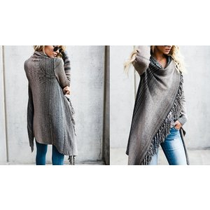 Domosecret Striped Poncho-style Tassel Cardigan - 2 Colours & 6 Sizes Clothing Accessories