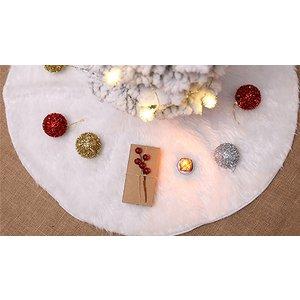 Secretstorz White Faux Fur Christmas Tree Skirt - 3 Sizes Home Accessories