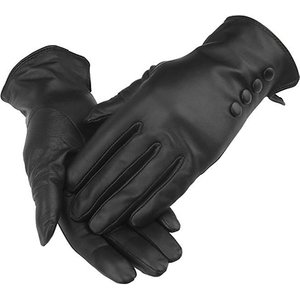 Woodland Leather Ltd Women's Black Button Detail Leather Gloves Clothing Accessories