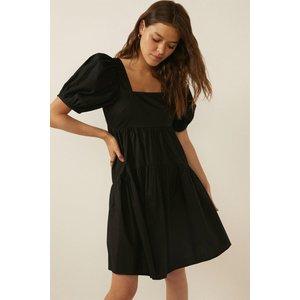 Oasis Womens Back Detail Puff Sleeve Smock Dress Black Aaa04291 105 16 5045671345697 Womens Dresses & Skirts, Black