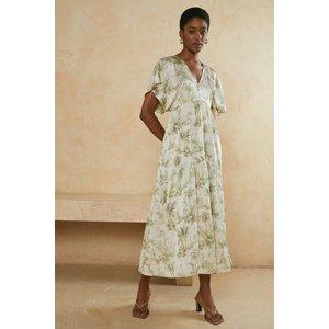 Oasis Womens Palm Print Tie Back Midi Smock Dress Ivory Aaa05790 133 14 5045676269141 Womens Dresses & Skirts, Ivory