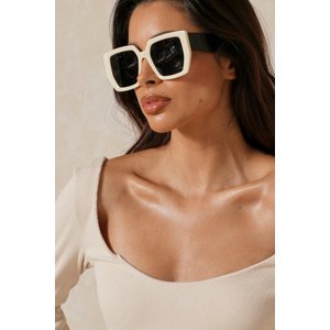 Misspap Fashion Chunky Framed Sunglasses Beige Clothing Accessories, beige