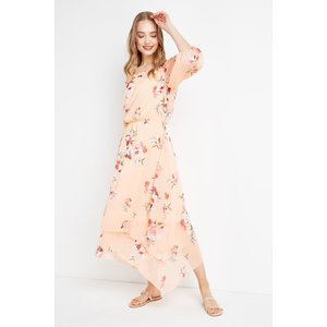 Wallis Coral Floral Off Shoulder Tiered Midi Dress Womens Dresses & Skirts, coral