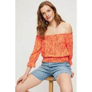Dorothy Perkins Coral Orange Leaf Shirred Bardot Top Clothing Accessories, coral