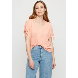 Dorothy Perkins Coral Tie Sleeve T-shirt Clothing Accessories, coral