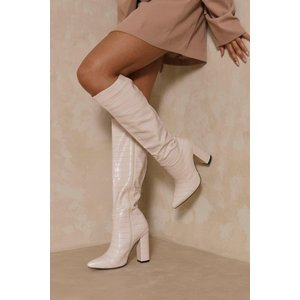 Misspap Croc Knee High Heeled Boots Nude Shoes, nude
