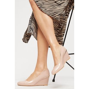 Dorothy Perkins Duke Gold Heel Clip Wedge Court Blush Shoes, blush