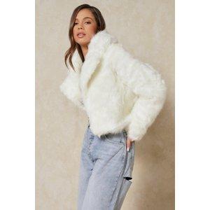 Misspap Fashion Faux Fur Cropped Jacket Cream Clothing Accessories, cream
