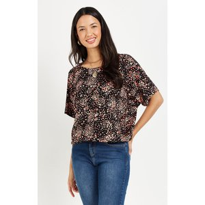 Wallis Floral Banded Jersey Top Black Clothing Accessories, black
