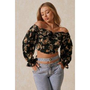 Misspap Floral Off The Shoulder Ruched Detail Top Black Clothing Accessories, black