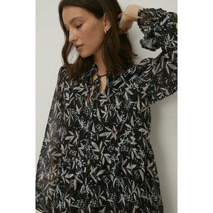 Oasis Foil Leaf Printed Keyhole Smock Dress Black Womens Dresses & Skirts, black
