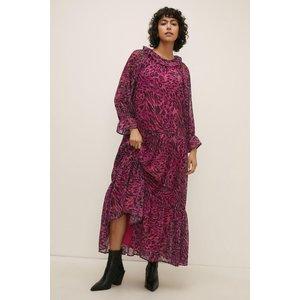 Oasis Frill Neck Mono Leopard Midi Smock Dress Womens Dresses & Skirts, mono
