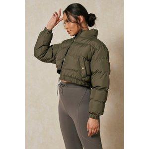 Misspap Fashion Funnel Neck Cropped Padded Puffer Jacket Khaki Clothing Accessories, khaki