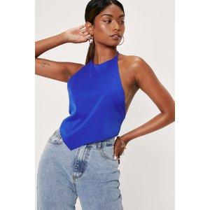 Nastygal Halter Backless Bandana Crop Top Blue Clothing Accessories, blue