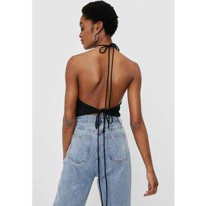 Nastygal Halter Backless Bandana Crop Top Black Clothing Accessories, black