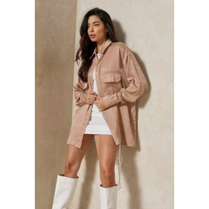Misspap Fashion Hammered Satin Oversized Shirt Stone Clothing Accessories, stone