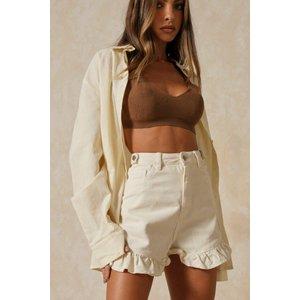 Misspap Basics High Waisted Frill Hem Denim Short Ecru General Clothing, ecru