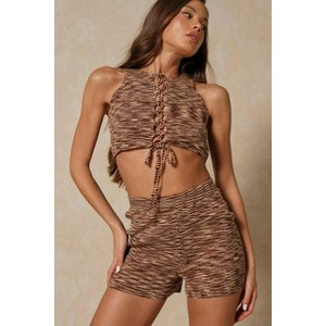 Misspap Knitted Ribbed Lace Up Short Co-ord Chocolate General Clothing, chocolate
