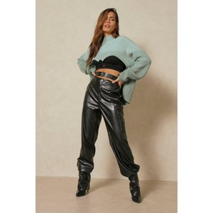 Misspap Leather Look Double Waisted Joggers Black Clothing Accessories, black