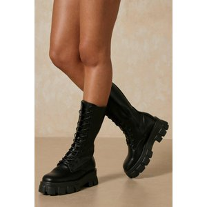 Misspap Leather Look Knee High Lace Up Boots Black Shoes, black