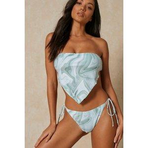 Misspap Marble Print Scarf Top Bikini Set Green General Clothing, green