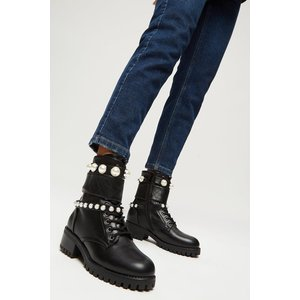 Dorothy Perkins Maribella Pear Detail Hiker Boot Black Shoes, black