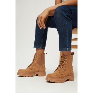 Dorothy Perkins Marlo Ribbed Detail Hiker Boot Khaki Shoes, khaki