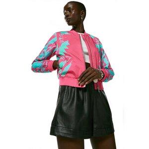 Karenmillen Mirror Printed Cotton Sateen Bomber Jacket Neon Pink Clothing Accessories, neon-pink