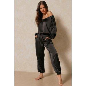 Misspap Fashion Off The Shoulder Satin Lounge Set Black Clothing Accessories, black