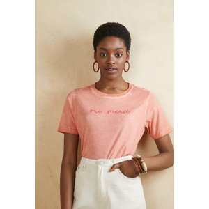Oasis Oui Merci Oil Wash T-shirt Coral Clothing Accessories, coral