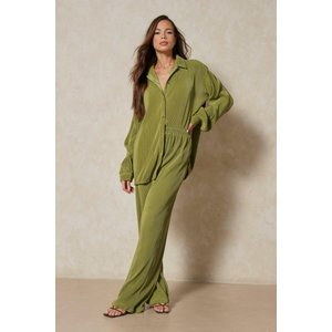 Misspap Fashion Oversized Plisse Shirt Green Clothing Accessories, green