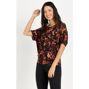 Wallis Petite Floral Jersey Banded Top Black Clothing Accessories, black