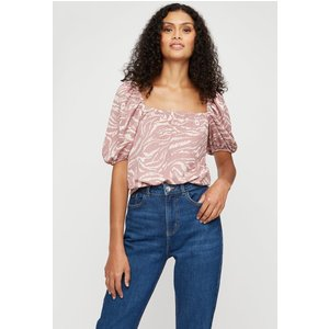 Dorothy Perkins Pink Zebra Square Neck Volume Sleeve Top Clothing Accessories, pink