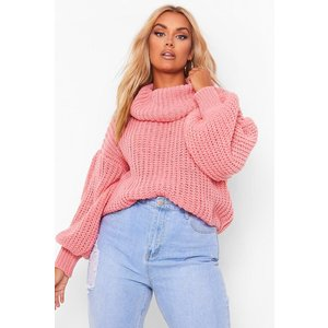 Boohoo Plus Supersoft Oversized Cowl Neck Jumper Coral Clothing Accessories, coral