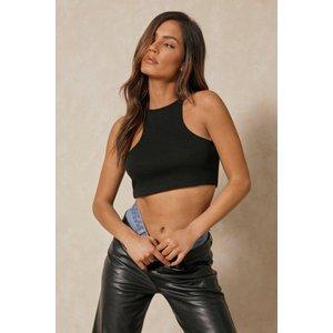 Misspap Basics Ribbed Racer Neck Crop Top Black Clothing Accessories, black
