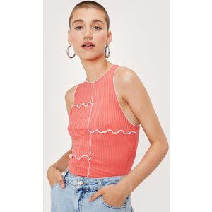 Nastygal Ribbed Seam Detail Racerback Top Coral Clothing Accessories, coral