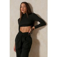 Misspap Fashion Ruched Side High Neck Top Black Clothing Accessories, black