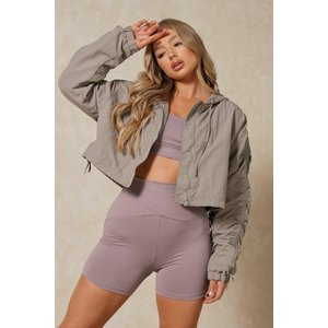 Misspap Fashion Ruched Sleeve Hooded Cropped Jacket Grey Clothing Accessories, grey
