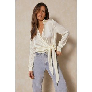 Misspap Fashion Satin Tie Front Wrap Shirt Cream Clothing Accessories, cream