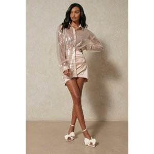 Misspap Fashion Sheer Sequin Shirt Clear Clothing Accessories, clear